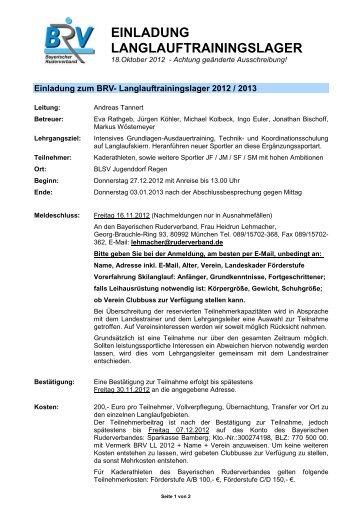 einladung langlauftrainingslager - Bayerischer Ruderverband