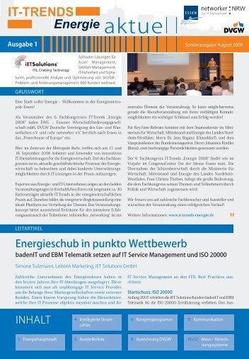 """INHALT Energieschub in punkto Wettbewerb - IT-Trends """"Energie"""""""