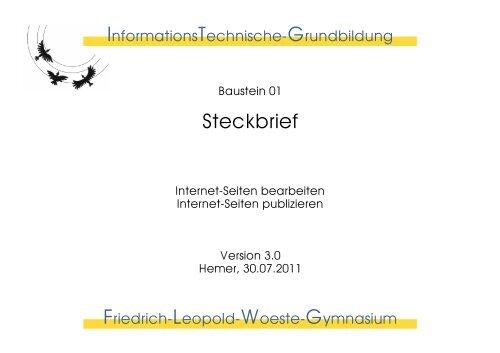 Steckbrief - Friedrich-Leopold-Woeste-Gymnasium
