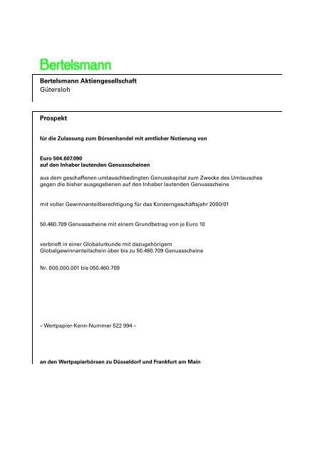 bertelsmann genussscheine kurs