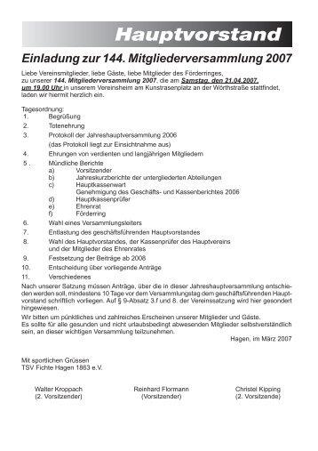 Einladung zur 144. Mitgliederversammlung 2007 - TSV Fichte ...