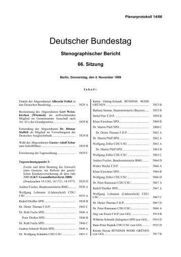 Stenographischer Bericht 66. Sitzung - Deutscher Bundestag