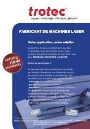 Presentation generale de Trotec et des machines ... - Trotec Laser Inc