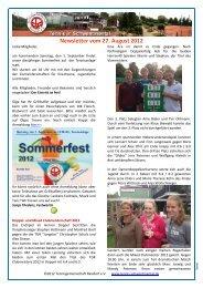 Newsletter vom 27. August 2012 - Tennis in Schwentinental