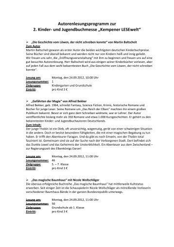 "und Jugendbuchmesse ""Kempener LESEwelt"""