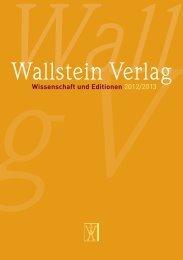 Wissenschaft und Editionen - Wallstein Verlag