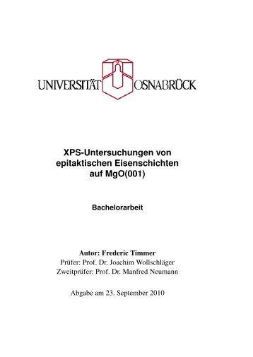 XPS-Untersuchungen von epitaktischen Eisenschichten auf MgO(001)
