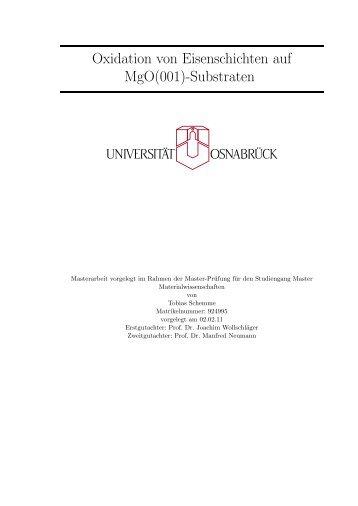 Oxidation von Eisenschichten auf MgO(001)-Substraten - Universität ...