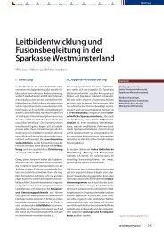 Leitbildentwicklung und Fusionsbegleitung in der Sparkasse ...