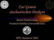 Zur Genese stochastischen Denkens - Friedrich-Schiller-Universität ...