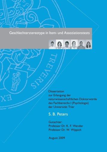 S. B. Peters - Hochschulschriftenserver der Universität Trier
