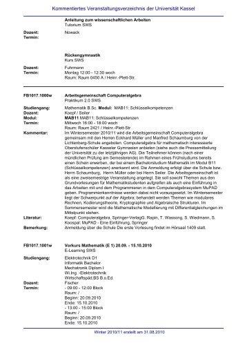 Kommentiertes Veranstaltungsverzeichnis der Universität Kassel