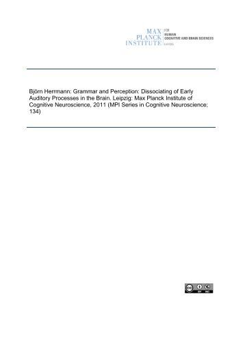 Grammar and Perception: Dissociating of Early Auditory ... - PubMan