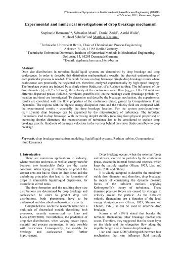 Experimental and numerical investigations of drop ... - TU Berlin