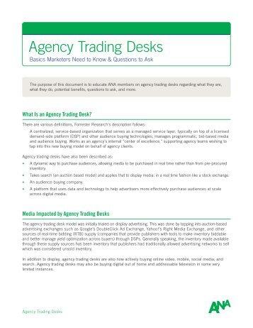 Agency Trading Desks - AdExchanger