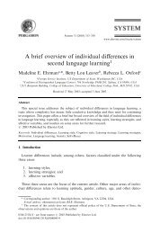 A brief overview of individual differences in second - Faculty of ...