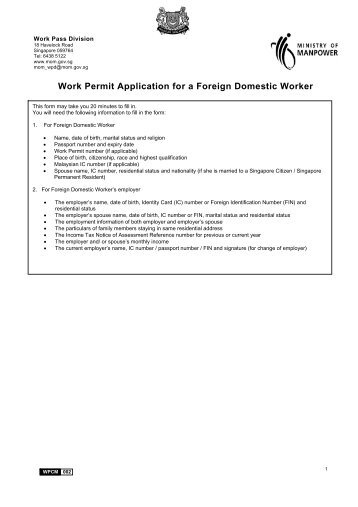 Work Permit Application for a Foreign Domestic Worker