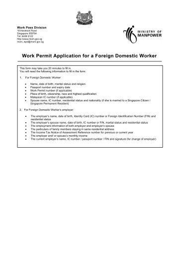 Work Permit Application for a Foreign Domestic Worker - Ministry of ...