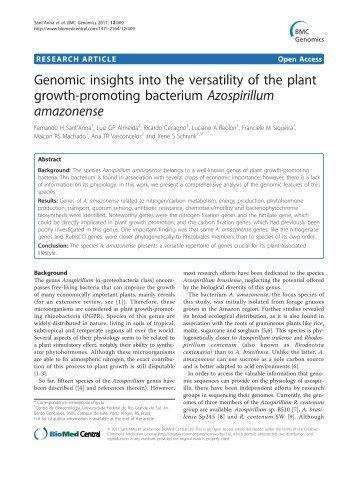 Azospirillum amazonense - BioMed Central