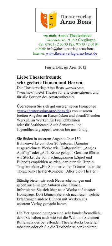 Einakter - Theaterverlag Arno Boas