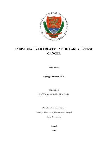 INDIVIDUALIZED TREATMENT OF EARLY BREAST CANCER