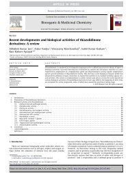 Recent developments and biological activities of thiazolidinone ...