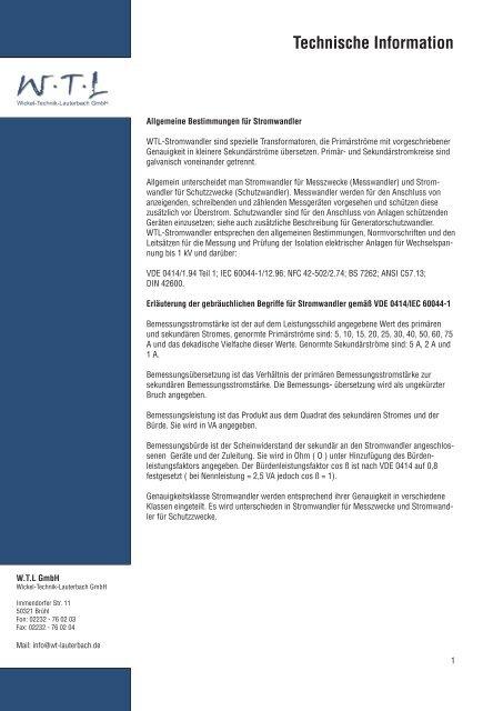 Technische Information - Wickel-Technik Lauterbach GmbH