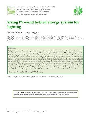 Sizing PV-wind hybrid energy system for lighting - International ...