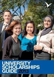 Scholarships Guide 2013 - University of Western Sydney