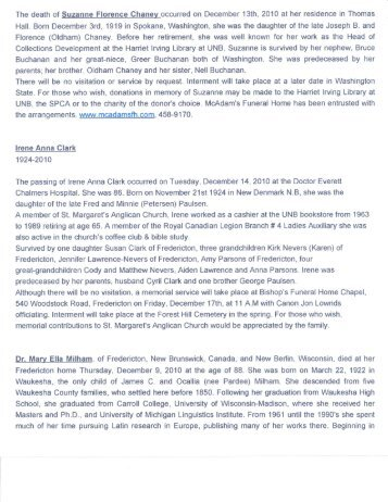 2010 July - Dec Obituaries - University of New Brunswick