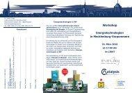 Workshop Energietechnologien in Mecklenburg-Vorpommern
