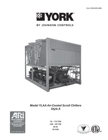 yvaa style a air cooled screw liquid chillers johnson controls. Black Bedroom Furniture Sets. Home Design Ideas