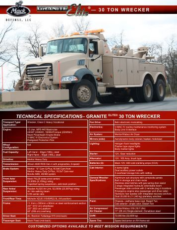 technical specifications– granite elite® 30 ton wrecker - Mack Defense
