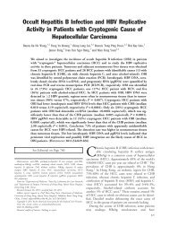 Occult hepatitis B infection and HBV replicative activity in patients ...