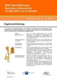 AHK-Geschäftsreise Deutsche Lebensmittel TSCHECHIEN und ...