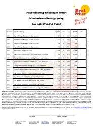 Preisliste Grosshandel Bratwurst Wurst Wurstwaren Salami Schinken
