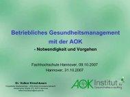 Betriebliches Gesundheitsmanagement mit der AOK