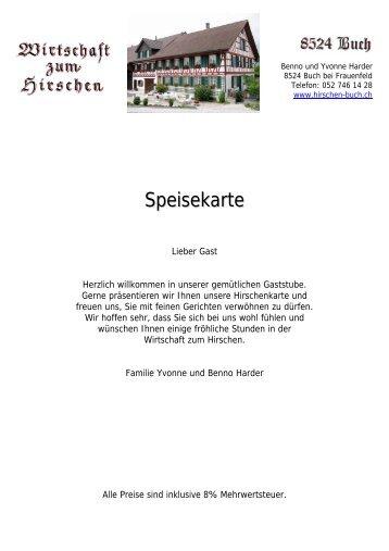 Restaurant Fellbach Hotel Zum Hirschen Speisekarte