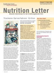 Nutrition Letter - Ernaehrungs-forum.com