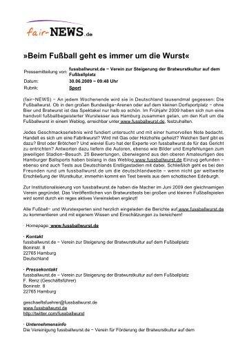 PDF :: fair-NEWS.de :: »Beim Fußball geht es immer um die Wurst«