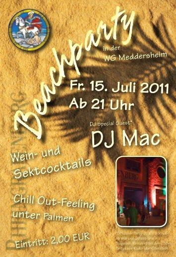 Fr. 15. Juli 2011 Ab 21 Uhr Fr. 15. Juli 2011 Ab 21 Uhr Chill Out ...
