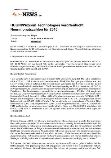 PDF :: fair-NEWS.de :: HUGIN/Wizcom Technologies veröffentlicht ...