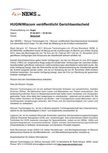 PDF :: fair-NEWS.de :: HUGIN/Wizcom veröffentlicht Gerichtsentscheid