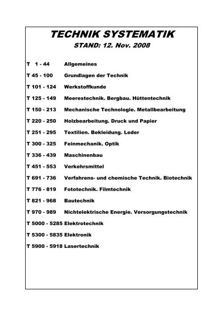 Technik-Systematik. Stand: 12.11.2008