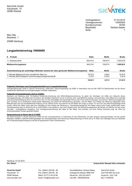 Muster Sievatek Mietkauf Finanzierungsvertrag Lzmv
