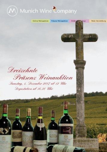 13. präsenzauktion erlesener weine - Munich Wine Company
