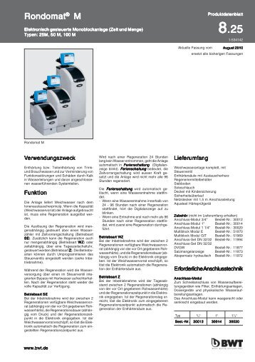 Rondomat M - bei BWT Wassertechnik GmbH