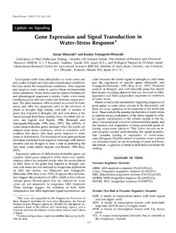 Gene Expression and Signal Transduction in ... - Plant Physiology