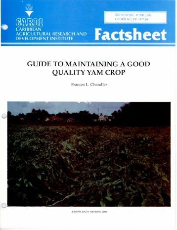 Factsheet GUIDE TO MAINTAINING A GOOD QUALITY YAM CROP