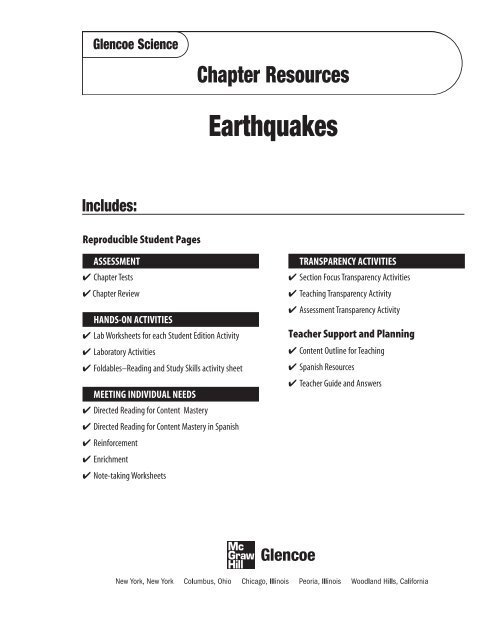 Chapter 13 Resource: Earthquakes